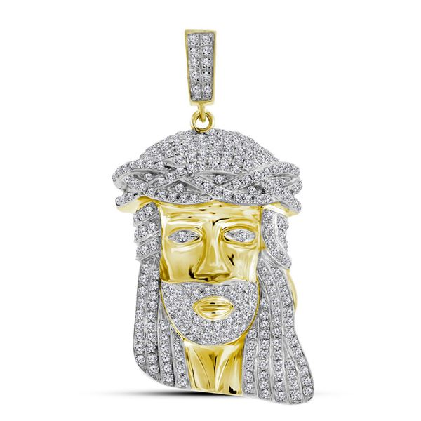 Mens Diamond Jesus Face Charm Pendant 1-1/4 Cttw 10kt Yellow Gold