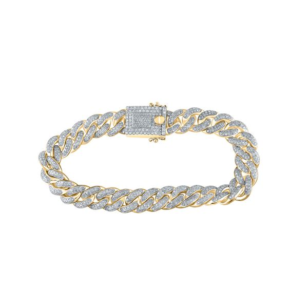 Mens Diamond Cuban Fashion Bracelet 5-7/8 Cttw 10kt Yellow Gold