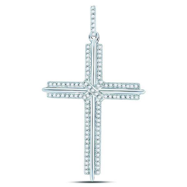 Mens Diamond Roman Cross Charm Pendant 1/4 Cttw 10kt White Gold