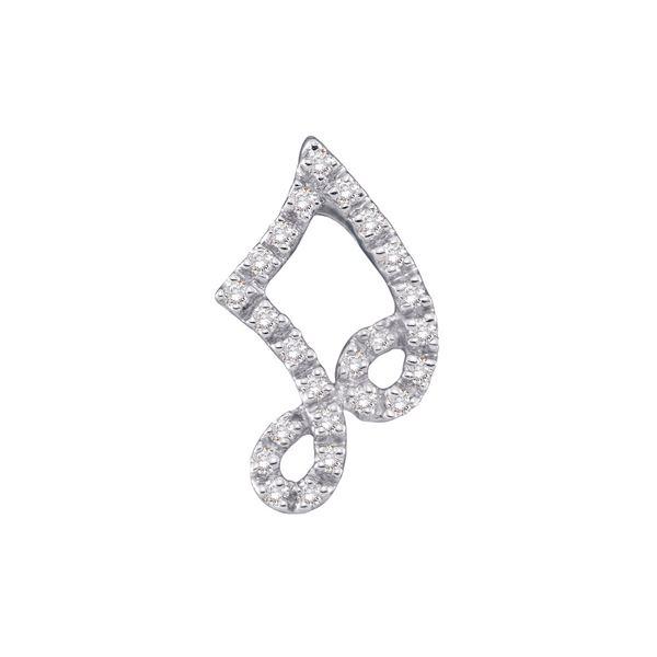 Diamond Half Note Music Fashion Pendant 1/10 Cttw 14kt White Gold