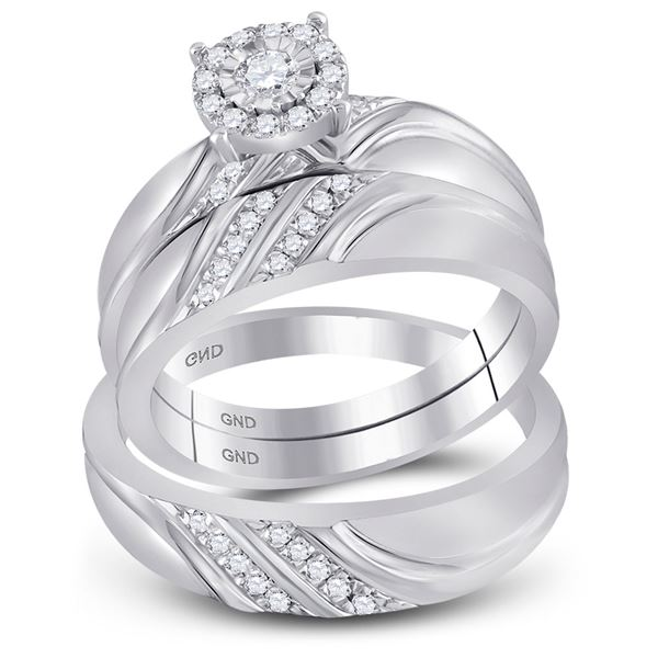 His Hers Diamond Solitaire Matching Wedding Set 1/3 Cttw 10kt White Gold