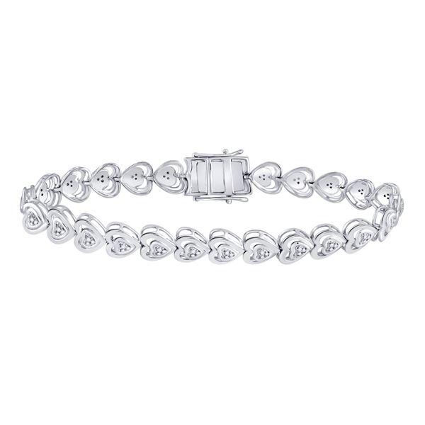 Diamond Heart Tennis Bracelet 1/4 Cttw Sterling Silver