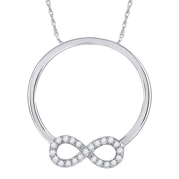 Diamond Circle Infinity Pendant 1/8 Cttw 10kt White Gold