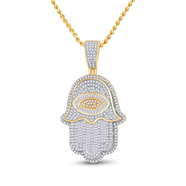 Mens Baguette Diamond Eye Fatima Hamsa Charm Pendant 1-1/2 Cttw 14kt Yellow Gold