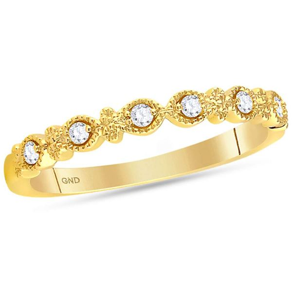 Diamond Milgrain Stackable Band Ring 1/10 Cttw 14kt Yellow Gold
