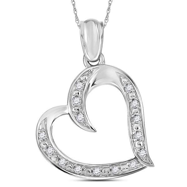 Diamond Heart Pendant 1/10 Cttw Sterling Silver