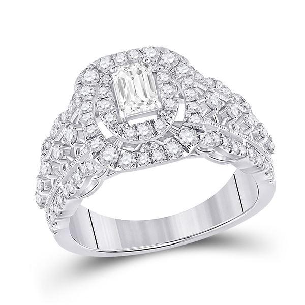 Emerald Diamond Halo Bridal Wedding Engagement Ring 1-1/3 Cttw 14kt White Gold