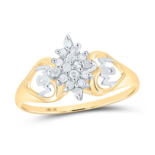 Diamond Mom Heart Cluster Ring 1/6 Cttw 10kt Yellow Gold