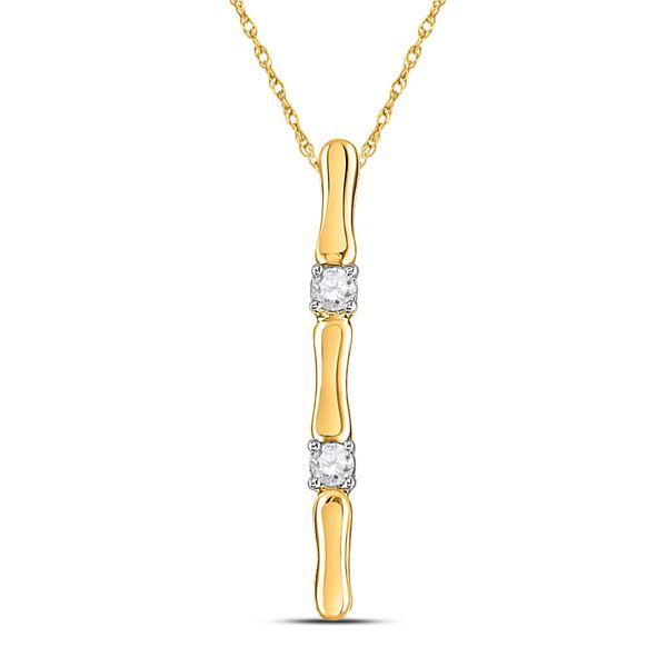 Diamond Vertical Bar Necklace 1/10 Cttw 10kt Yellow Gold