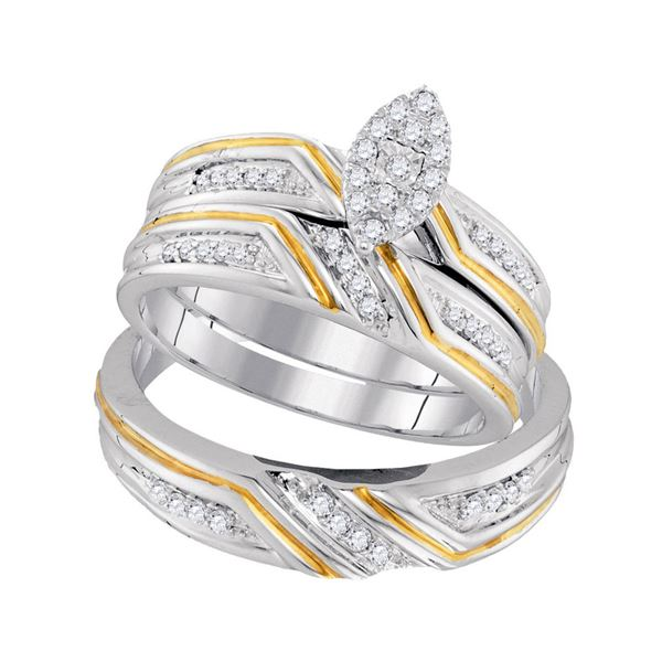 His Hers Diamond Marquise Matching Wedding Set 1/3 Cttw 10kt White Gold