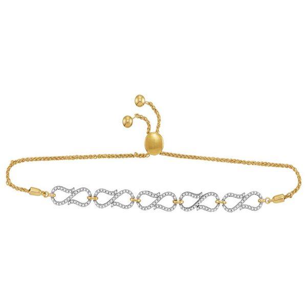Diamond Infinity Bolo Bracelet 1/2 Cttw 10kt Yellow Gold