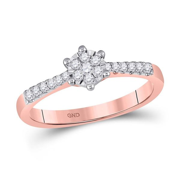 Diamond Flower Cluster Stackable Band Ring 1/5 Cttw 10kt Rose Gold