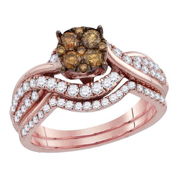 Brown Diamond Cluster Bridal Wedding Ring Band Set 1 Cttw 14kt Rose Gold