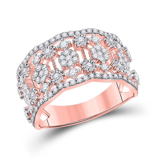 Diamond Right Hand Cocktail Ring 7/8 Cttw 14kt Rose Gold