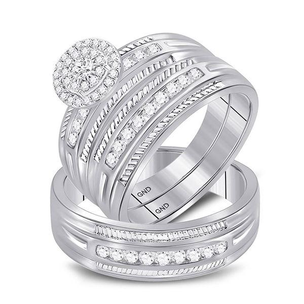 His Hers Diamond Halo Matching Wedding Set 5/8 Cttw 10kt White Gold