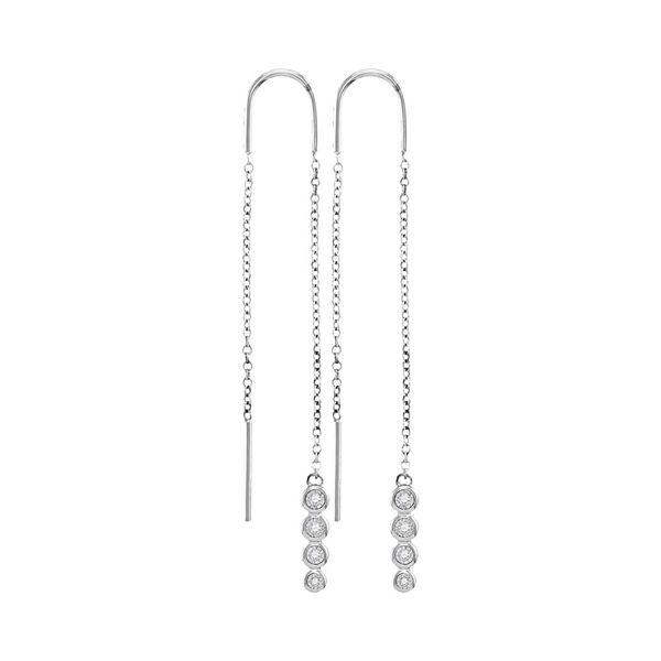 Bezel-set Diamond Dangle Threader Earrings 1/12 Cttw 10kt White Gold