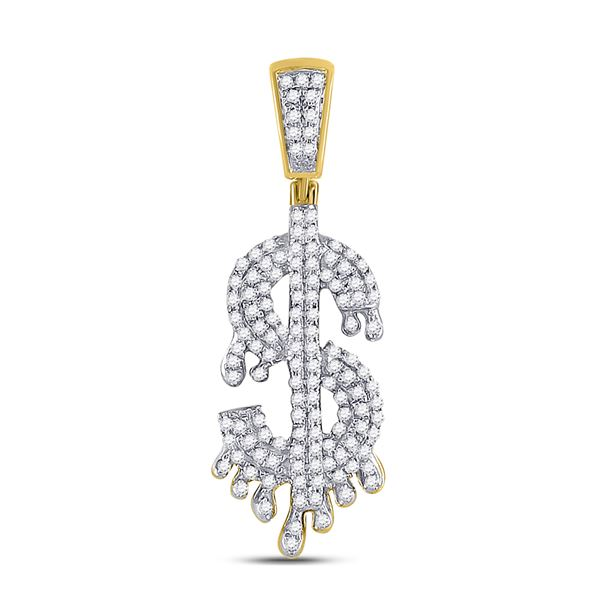 Mens Diamond Dollar-Sign Charm Pendant 3/8 Cttw 10kt Yellow Gold