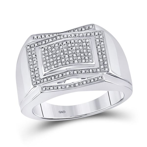 Sterling Silver Mens Diamond Cluster Ring 1/5 Cttw Sterling Silver