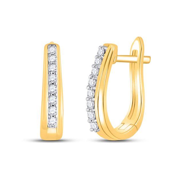 Diamond Hoop Earrings 1/4 Cttw 10kt Yellow Gold