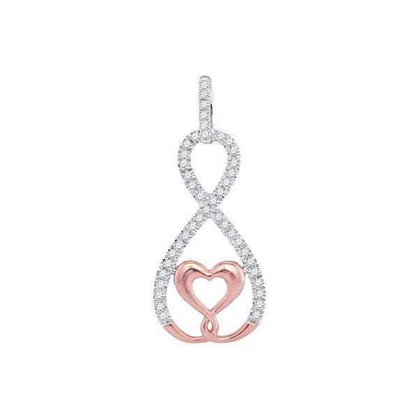 Diamond Heart Infinity Pendant 1/8 Cttw 10kt Two-tone Gold