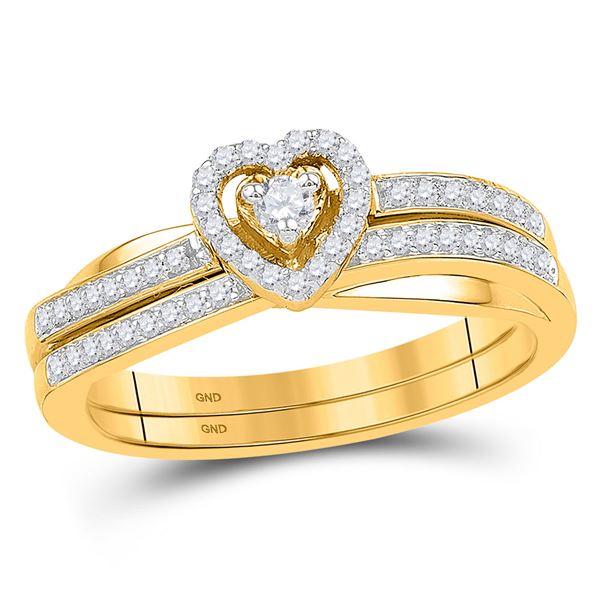 Diamond Heart Bridal Wedding Ring Band Set 1/4 Cttw 10kt Yellow Gold