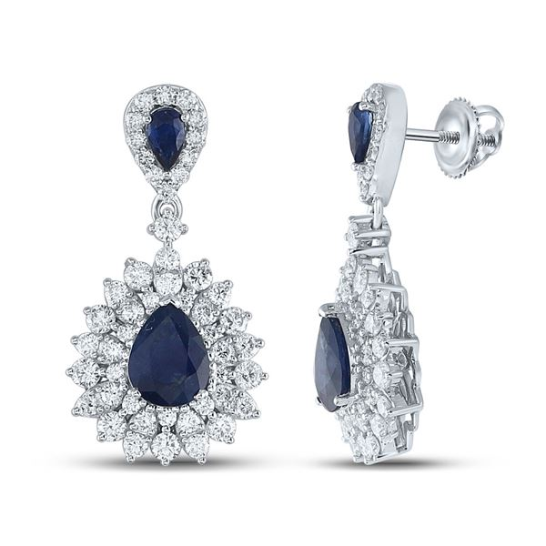 Pear Blue Sapphire Diamond Dangle Earrings 4-7/8 Cttw 14kt White Gold