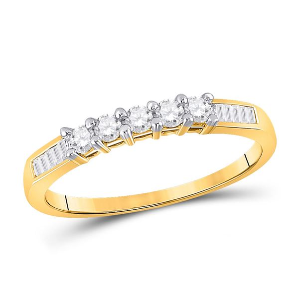 Diamond Wedding 5-Stone Anniversary Band 1/3 Cttw 10kt Yellow Gold