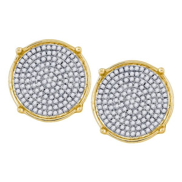Mens Diamond Circle Cluster Earrings 1/2 Cttw 10kt Yellow Gold