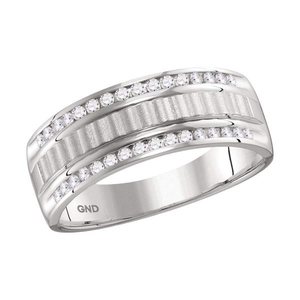 Mens Channel-set Diamond Textured Wedding Band Ring 1/3 Cttw 14kt White Gold