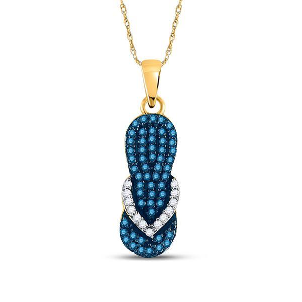 Blue Color Enhanced Diamond Flip Flop Sandal Pendant 1/3 Cttw 10kt Yellow Gold