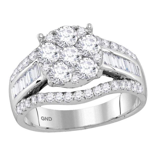 Diamond Cluster Bridal Wedding Engagement Ring 1-7/8 Cttw 14kt White Gold