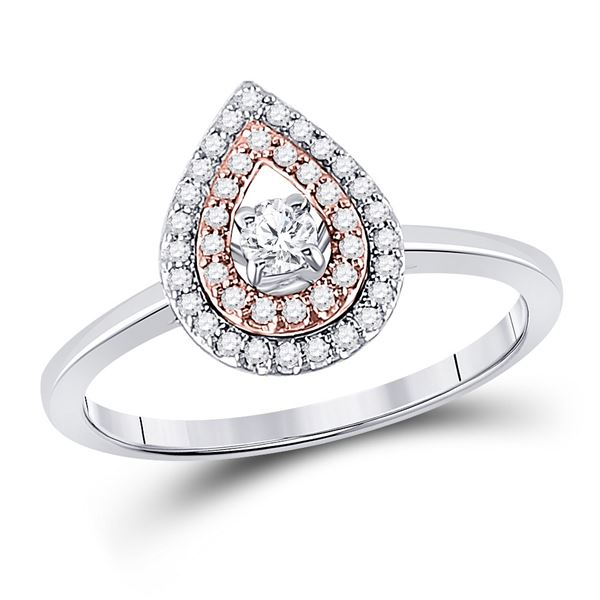 Diamond Teardrop Solitaire Ring 1/4 Cttw 10kt Two-tone Gold