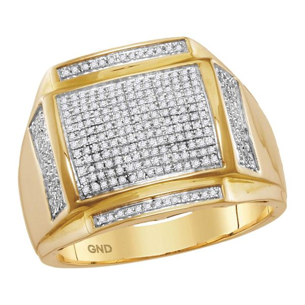 Mens Pave-set Diamond Square Cluster Ring 1/2 Cttw 10kt Yellow Gold