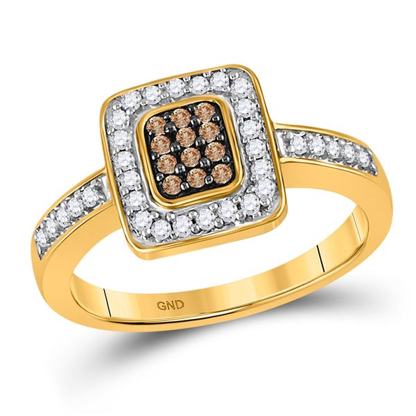 Brown Diamond Square Cluster Ring 1/3 Cttw 10kt Yellow Gold