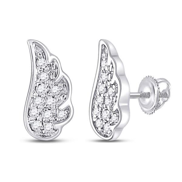 Diamond Angel Wing Stud Earrings 1/20 Cttw 14kt White Gold