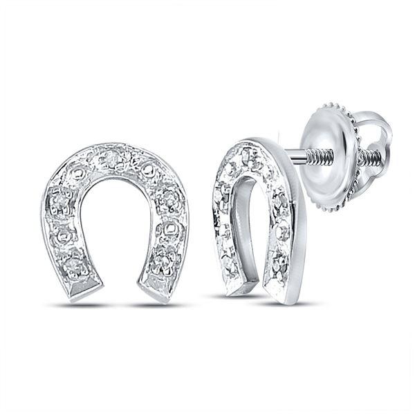 Diamond Horseshoe Earrings 1/20 Cttw Sterling Silver