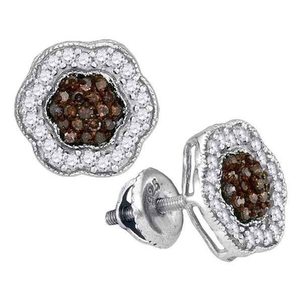 Brown Diamond Polygon Cluster Earrings 1/2 Cttw 10kt White Gold
