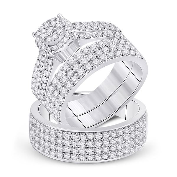 His Hers Diamond Cluster Matching Wedding Set 2-5/8 Cttw 14kt White Gold