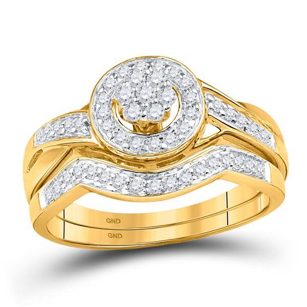 Diamond Cluster Bridal Wedding Ring Band Set 1/3 Cttw 10kt Yellow Gold