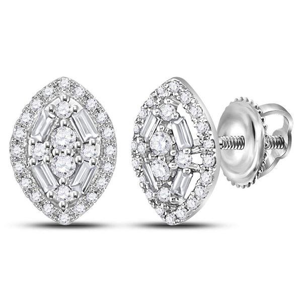 Baguette Diamond Oval Cluster Earrings 1/3 Cttw 14kt White Gold