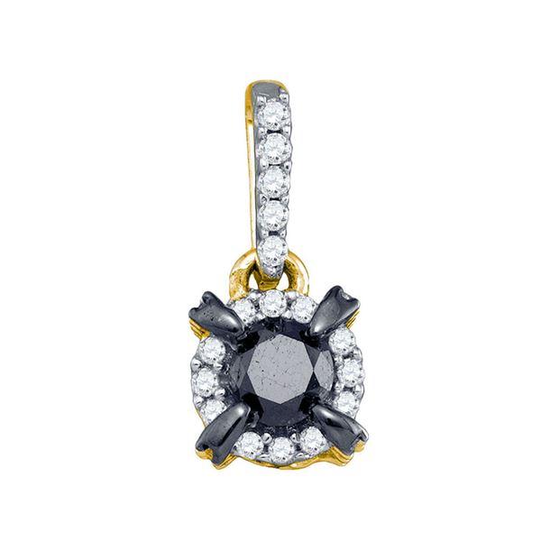 Black Color Enhanced Diamond Solitaire Pendant 1 Cttw 10kt Yellow Gold