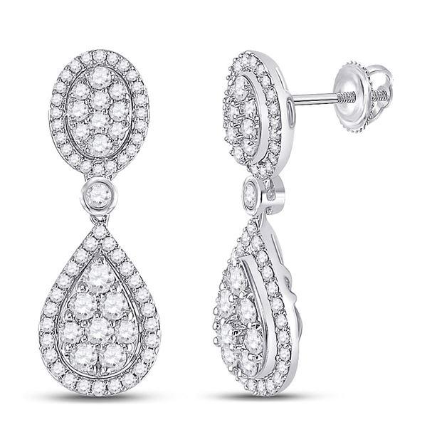 Diamond Teardrop Dangle Earrings 7/8 Cttw 14kt White Gold