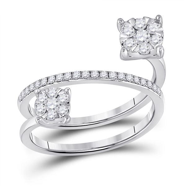Diamond Spiral Cluster Ring 1/2 Cttw 14kt White Gold