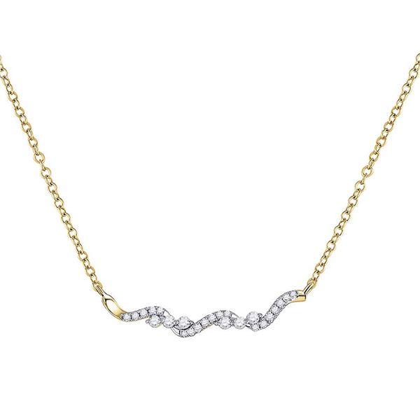 Diamond Bar Necklace 1/5 Cttw 14kt Yellow Gold