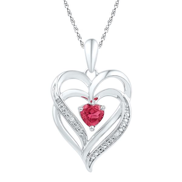 Lab-Created Ruby & Diamond Heart Pendant .01 Cttw Sterling Silver