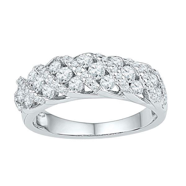 Diamond Alternating Stripe Band Ring 1 Cttw 10kt White Gold