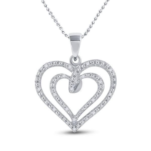Diamond Heart Pendant 1/20 Cttw Sterling Silver