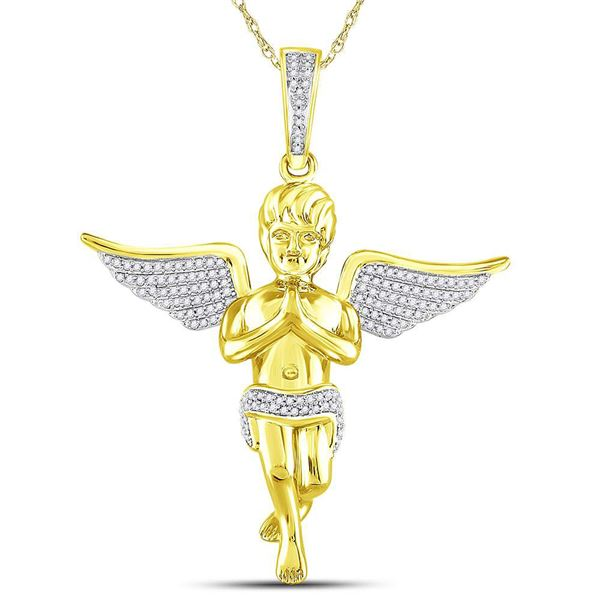 Mens Diamond Angel Charm Pendant 1/2 Cttw 10kt Yellow Gold
