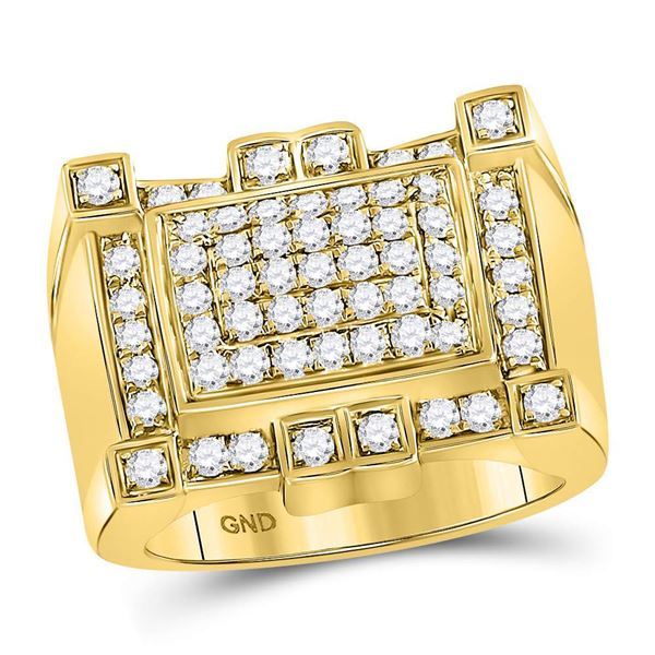 Mens Diamond Square Cluster Ring 1-1/2 Cttw 10kt Yellow Gold
