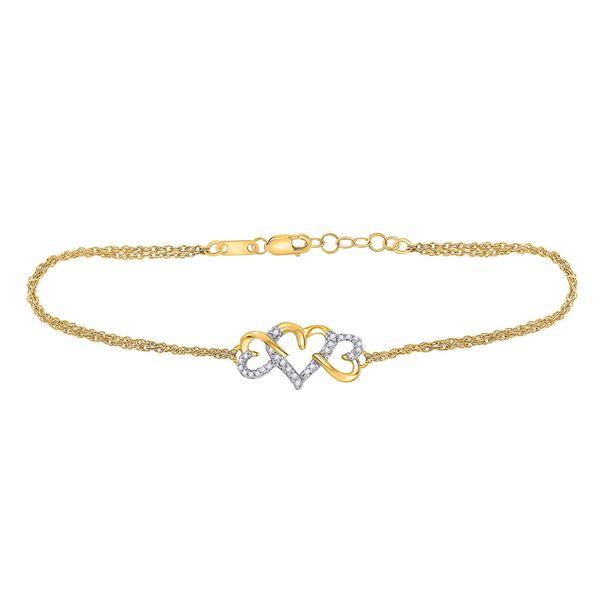 Diamond Triple Heart Chain Bracelet 1/10 Cttw 10kt Yellow Gold